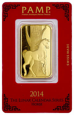 PAMP Suisse 2014 Lunar Year Horse 1 Oz Gold Bar With Assay Certificate SKU30227