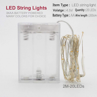 2M 20 LED Battery Starry Fairy Waterproof Decorative Silvery Wire String Lights