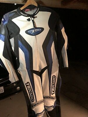 Teknic Leather Chicane One-Piece Road Racing Suit Motorcycle Bike Size 38
