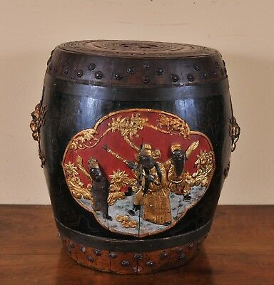 Antique Chinese Decorated Rice Barrell, 19th century