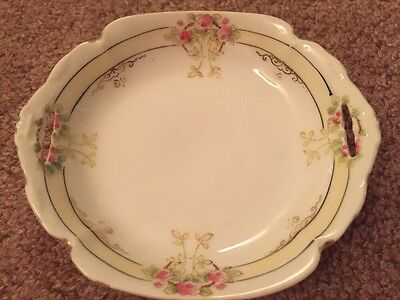 Vtg 1940's Hand Painted Nippon Small Dish W/ Side Notches No Chips Evc