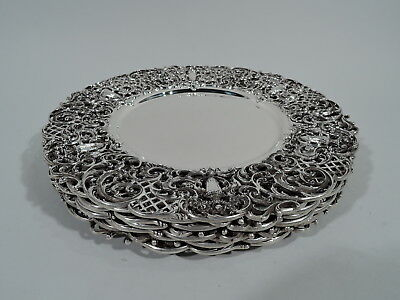 Shreve Chargers - 6969 - Set 8 Antique Dinner Plates - American Sterling Silver