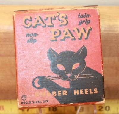 Vintage Pair Of Cat's Paw Rubber Shoe Heels In Decorative Original Box