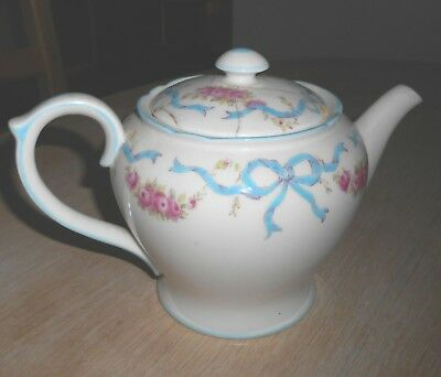 "SHELLEY # 13286  ""RIBBONS & ROSES"" PORCELAIN TEA POT  EARLY 1900s  BOUQUET"