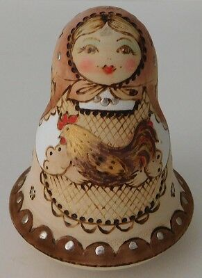 Artisan Signed Wood Roly-Poly Russian Bell - Woman with Chicken