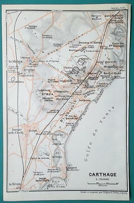 TUNISIA Plan of Ancient Carthage Site - 1911 BAEDEKER MAP