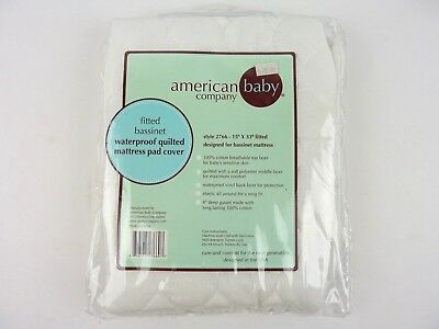 American Baby Company Fitted Bassinet Waterproof Quilted Mattress Pad Cover New