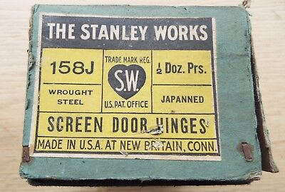 4 ½ pairs The Stanley Works 158J  Screen Door Hinges  circa 1923 Original box