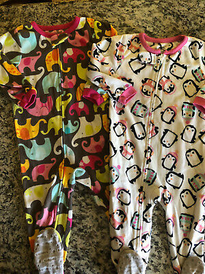 Girls Carters Zip Up Sleepers Sz 2T  Lot of 2 Great Condition Penguin & Elephant