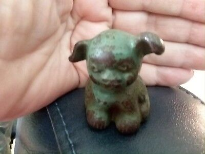 VTG 1920s Cast Iron Fido Dog Mini Paperweight Hubley Hines Pup ADVERTISING verdi