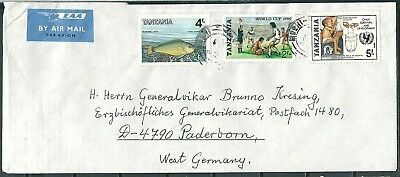 Tanzania 1986 Cover, Moshi To W. Germany, Nice Stamps -Cag 180718