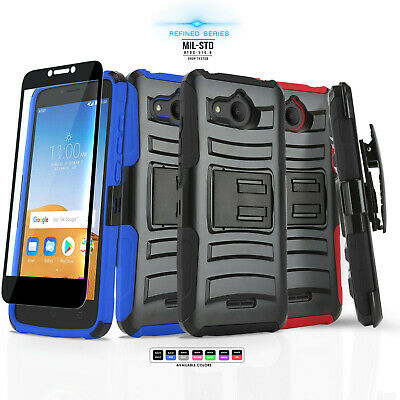 Refined Cover Phone Case & Holster For [Alcatel Tetra] +Black Tempered Glass