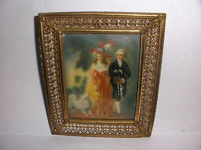 Nice Antique 19th 1800`s miniature painting love couple with dog