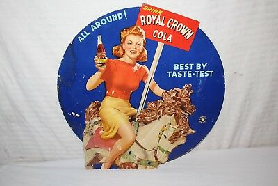 "Rare Vintage 1940's RC Royal Crown Cola Soda Pop Gas Station 22"" Sign"
