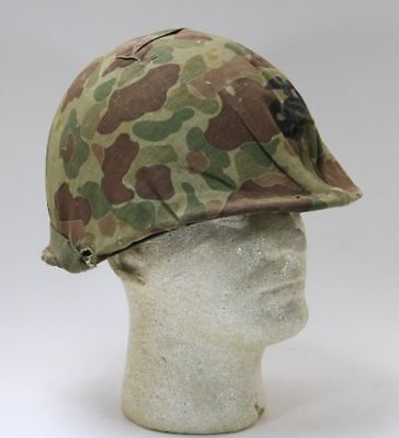 "WWII M1 Helmet with USMC Camo Cover fixed bale frogskin ""727"""