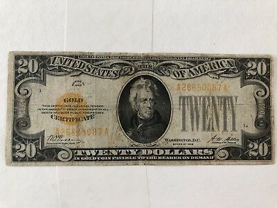 Series 1928 Gold Certificate $20 Twenty Dollar Note You Grade It F-2402 O50