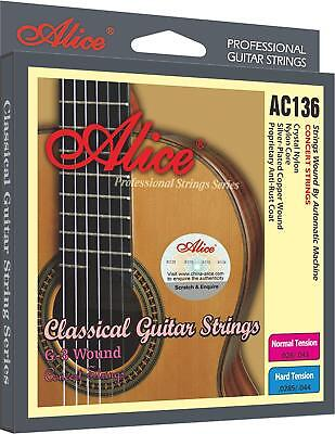 Alice AC136-H Classical Guitar Crystal Nylon Strings Anti Rust Coat Lightweight