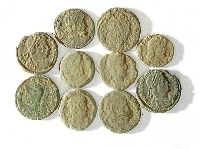 10 ANCIENT ROMAN COINS AE3 - Uncleaned and As Found! - Unique Lot 22945