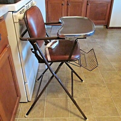 VINTAGE COSCO HIGH CHAIR BROWN METAL/STAINLESS TRAY-very clean