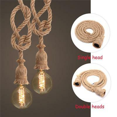 1&2 Heads Hemp Rope Electrical Braided Fabric Cable Wire E27 Bulb Pendant Light