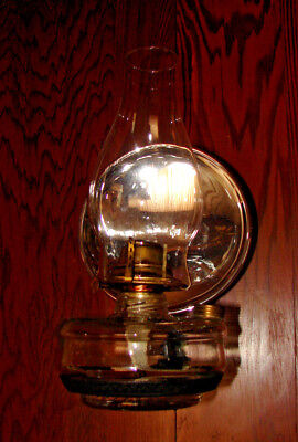 Vintage Hanging Wall Sconce Kerosene Oil Lamp with Chimney and Reflector