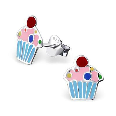 Children's Silver Cupcake Ear Studs with