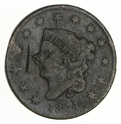 Tough - 1824 Large Cent - US Early Copper Coin *224