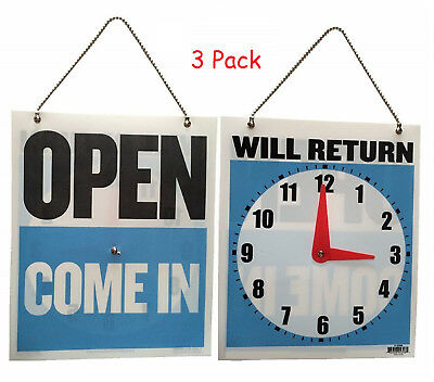 3x Come In/Open or Will Return Plastic Flip Sign with Clock Hands, 7.5 x 9 Inch