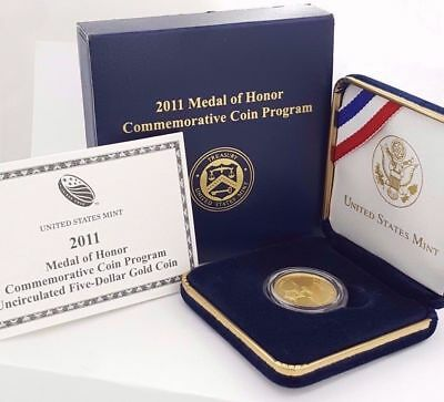 MINT 2011 Medal of Honor Uncirculated $5 GOLD Commemorative w/box & COA MOH2