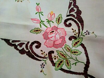 """Brightly Colored Madeira Embroidered Linen Tablecloth 50"""" by 49"""""""