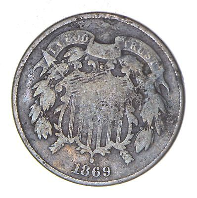 **TWO CENT** 1869 US 2 Cent Piece - First Coin with In God We Trust Motto *589
