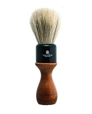 VIE-LONG AMERICAN STYLE WHITE HORSE HAIR SHAVING BRUSH, Wood Handle, Imported