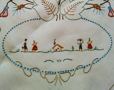 """Gorgeous Brightly Embroided and Cutwork Madeira Linen Tablecloth 50"""" x 48"""""""