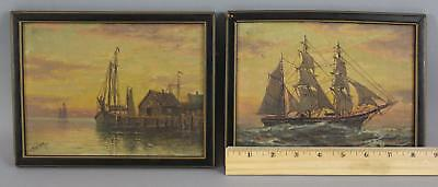Pr Antique T. BAILEY William Paskell Maritime Ship Sunset Seascape Oil Paintings