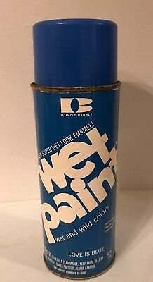Vintage Illinois Bronze WET PAINT Spray Paint Can Love Is Blue   *Not Used