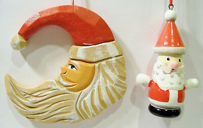 Santa Claus St. Nick Hand Carved Painted Vintage Wood Wooden Christmas Ornaments