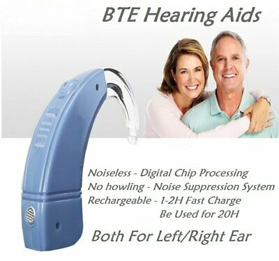 BTE USB Rechargeable Digital Hearing Aid Severe Loss Invisible Hearing Amplifier