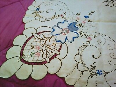 Exceptional Floral Madeira Linen Embroided and Cutwork Tablecloth 50 Inches Sq
