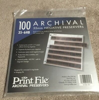 BNIP Print File 100 35mm Film Archival Preservers 35-6HB Negative Pages/Sleeves