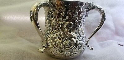 Sterling Silver Repousse 3 Handle Vase / Trophy Cup