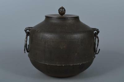 M2741: Japanese Old Iron Shapely TEAKETTLE Teapot Chagama, auto w/copper lid