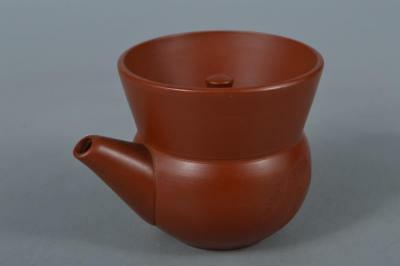 M3352: Japanese Tokoname-ware Brown pottery Poetry sculpture TEAPOT Kyusu Sencha