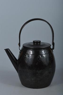 M4734: Japanese COPPER BOTTLE Teapot Dobin Tea Ceremony Flower sculpture