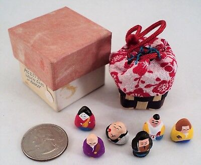 Vintage Tiny Japanese Clay Figures in Handwoven Basket In Box Handpainted NOS
