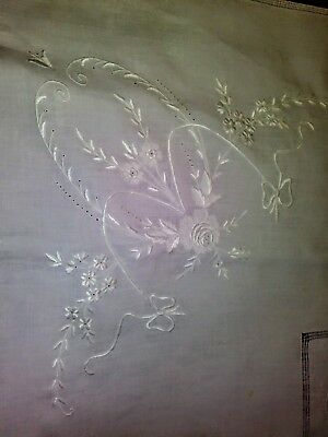 """White Madeira Finely Embroidered Handkerchief Linen Tablecloth 42"""" by 41"""""""