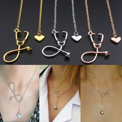 Heart Stethoscope Charm Pendant Necklace For Medical Doctor Nurse Jewelry Gift