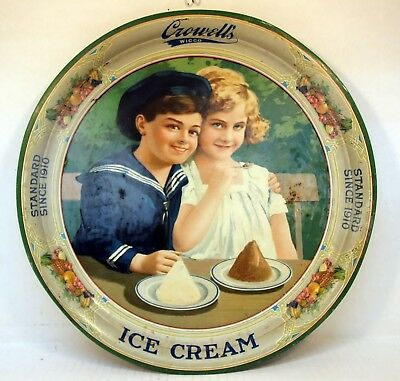 Rare 1920 K&s Co.crowell's Wicco Ice Cream Tray With Sailor Boy & Girl