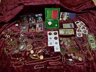 Huge Junk Drawer Lot US & Foreign Coins, Tokens, sports cards, jewelry...