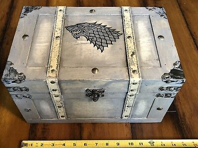 Game Of Thrones House Stark Wood Burned Hand Painted Direwolf Box Chest