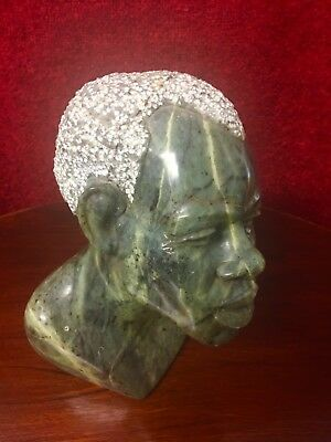 Vintage Carved African Head - signed David Neshita